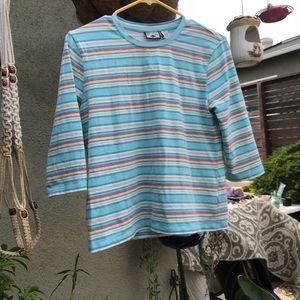 Tops - Rainbow Sherbert Striped Quarter Sleeve